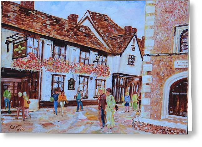 Greeting Card featuring the painting The Fleur De Lyse In St Albans by Giovanni Caputo