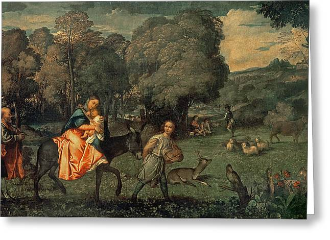 The Flight Into Egypt, 1500s Oil On Canvas Greeting Card