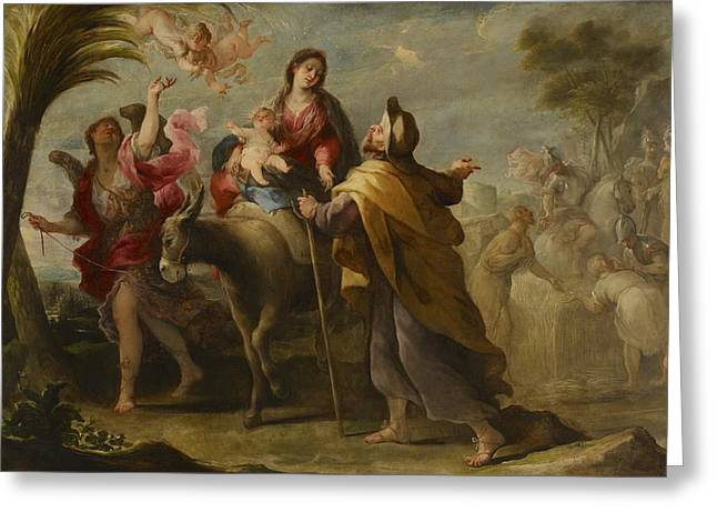 The Flight Into Egypt Greeting Card by Jose Moreno