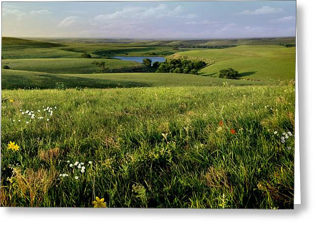 The Kansas Flint Hills From Rosalia Ranch Greeting Card by Rod Seel