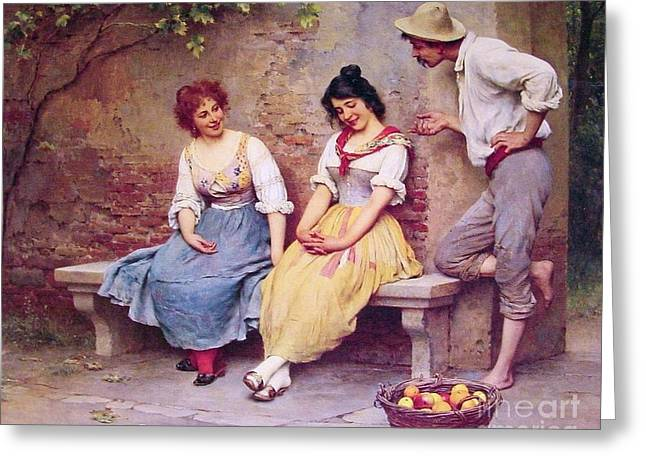 The  Flirtation Greeting Card by Pg Reproductions