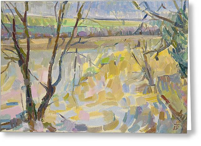 The Flooded Cherwell From Rousham II Oil On Canvas Greeting Card by Erin Townsend