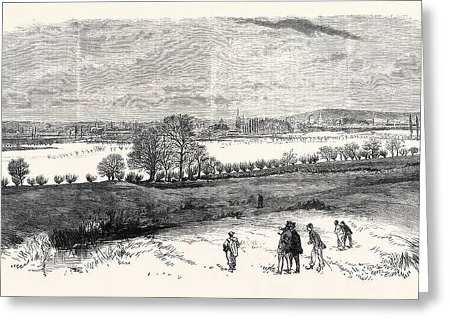 The Floods At Oxford From The North Hinkley Hill Uk 1869 Greeting Card