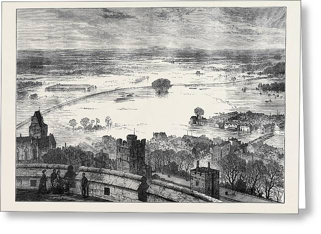 The Floods The Valley Of The Thames From The Round Tower Greeting Card by English School