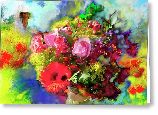 Greeting Card featuring the painting The Florist by Ted Azriel