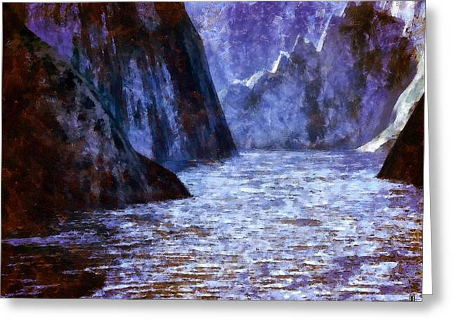 The Flow Of The Mighty River Anduin Greeting Card by Mario Carini
