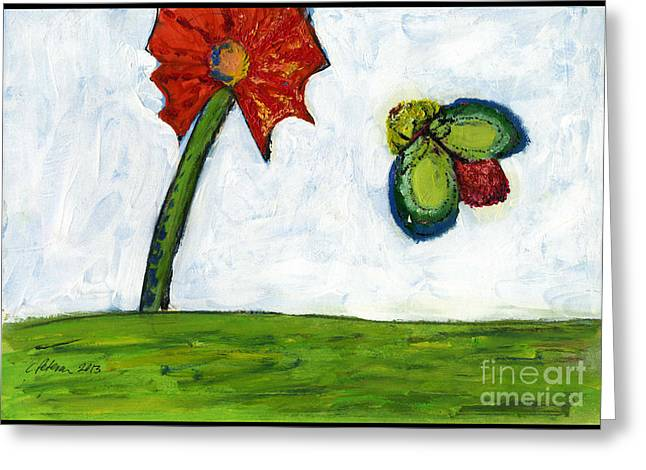 The Flower And The Bug Greeting Card by Cathy Peterson
