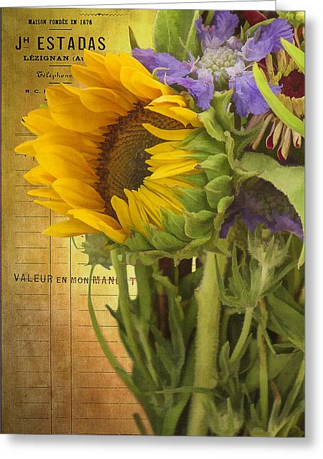 The Flower Market Greeting Card by Priscilla Burgers