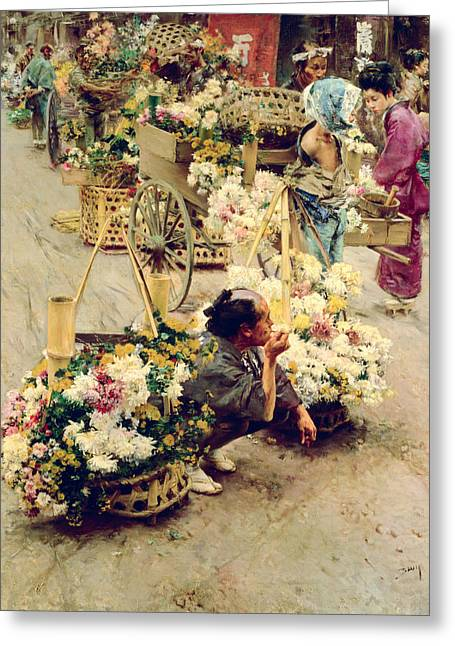 The Flower Market, Tokyo, 1892 Greeting Card by Robert Frederick Blum