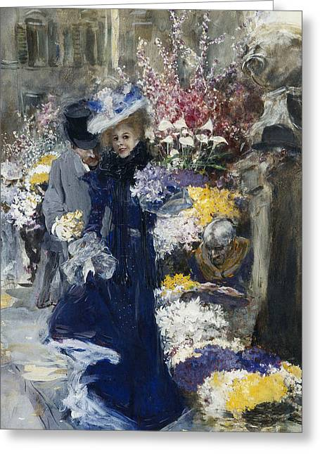 The Flower Seller Greeting Card by Friedrich Stahl