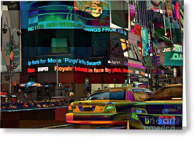 The Fluidity Of Light - Times Square Greeting Card