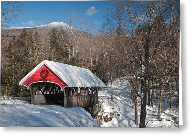 The Flume Bridge In Winter Greeting Card
