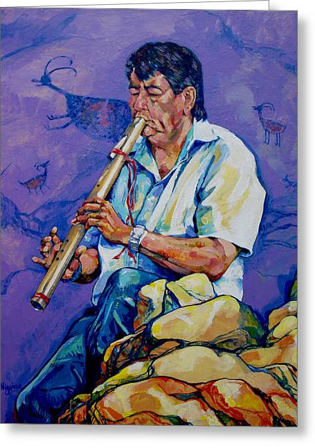 The Flute Player Greeting Card by Derrick Higgins