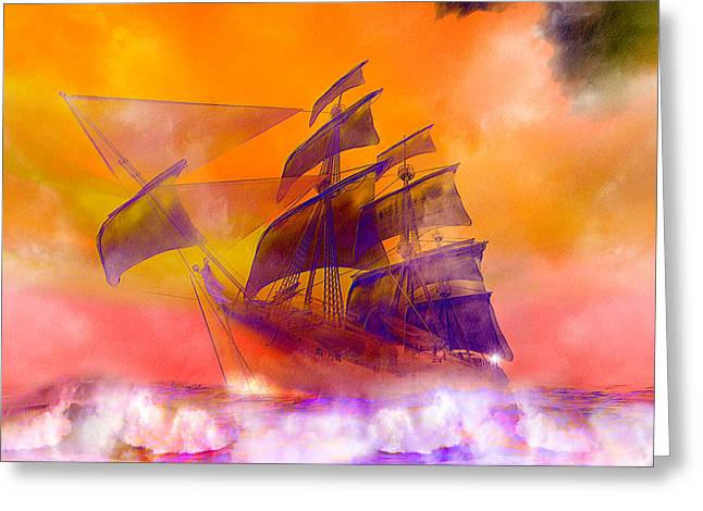 The Flying Dutchman Ghost Ship Greeting Card by Carol and Mike Werner