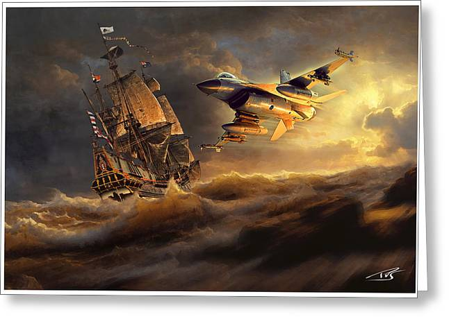 The Flying Dutchman Part One Greeting Card by Peter Van Stigt