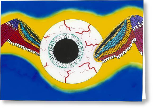 The Flying Eye Greeting Card by Patrick OLeary