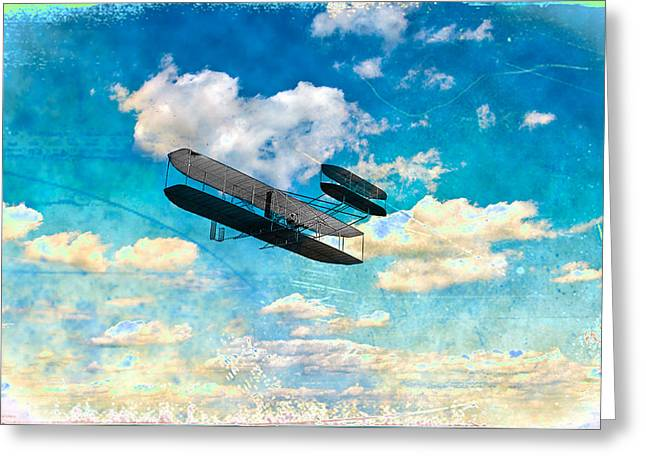 The Flying Machine Greeting Card by Bill Cannon