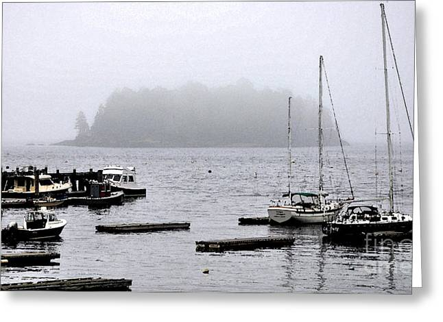 The Fog And The Island Greeting Card
