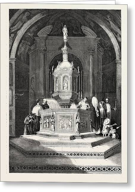 The Font In The Baptistery Of Sienna Cathedral Greeting Card by English School