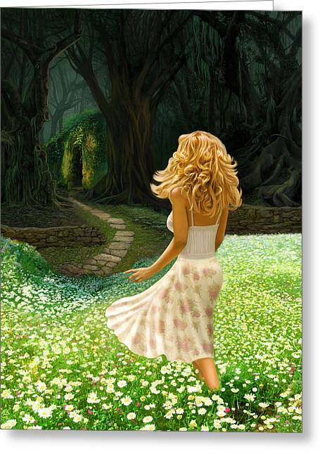 Greeting Card featuring the digital art The Forbidden Forest by Bob Nolin