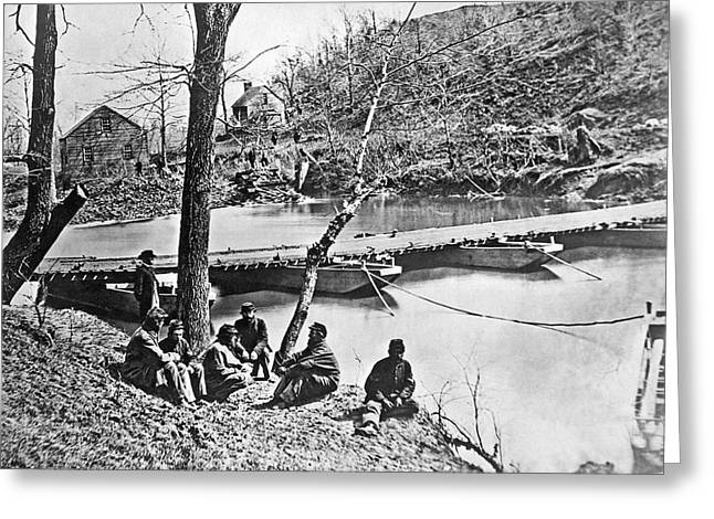 The Ford At Bull Run Greeting Card by Underwood Archives