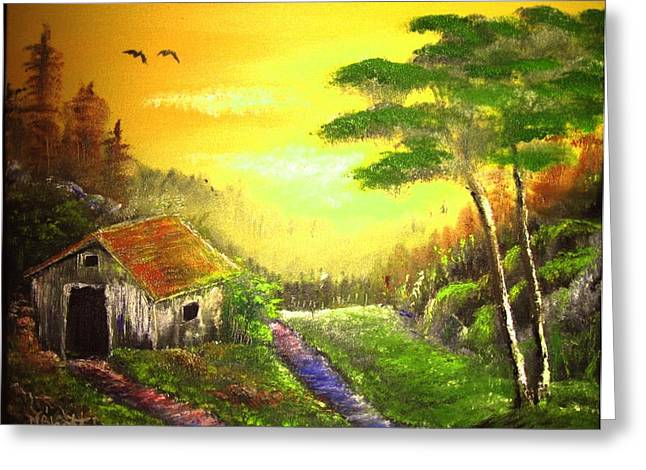 The Forest House Greeting Card by M Bhatt