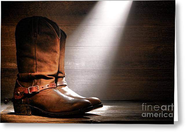 The Found Boots Greeting Card by Olivier Le Queinec