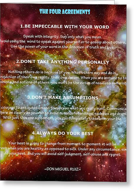 The Four Agreements-wisdom Of The Toltecs Greeting Card
