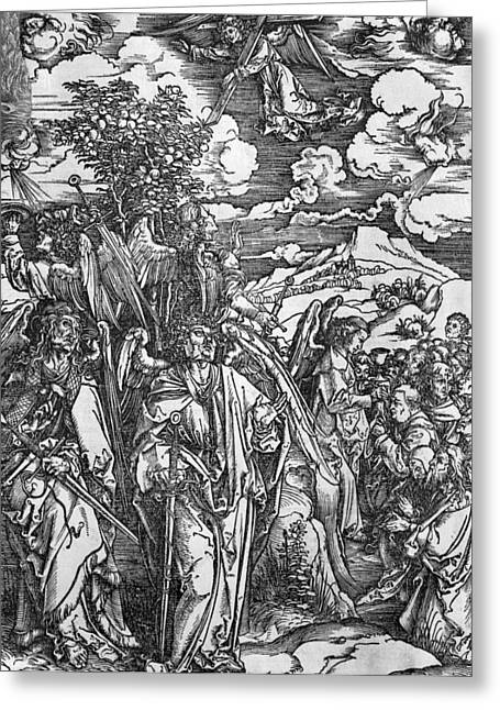 The Four Angels Holding The Winds Greeting Card by Albrecht Durer or Duerer