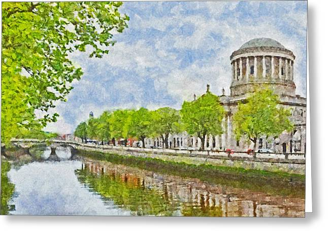 The Four Courts Along The River Liffey In Dublin Greeting Card
