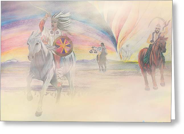 The Four Horsemen Approaching Greeting Card by Anastasia Savage Ealy