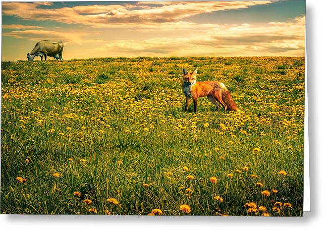 The Fox And The Cow Greeting Card by Bob Orsillo