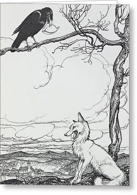 The Fox And The Crow Greeting Card by Arthur Rackham