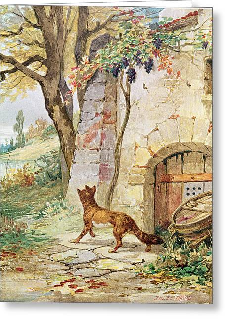 The Fox And The Grapes, Illustration For Fables By Jean De La Fontaine 1621-95 Colour Litho Greeting Card by Jules David