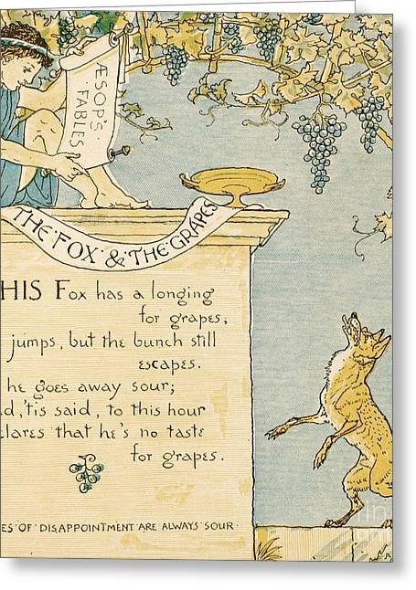 The Fox And The Grapes Greeting Card by Pg Reproductions