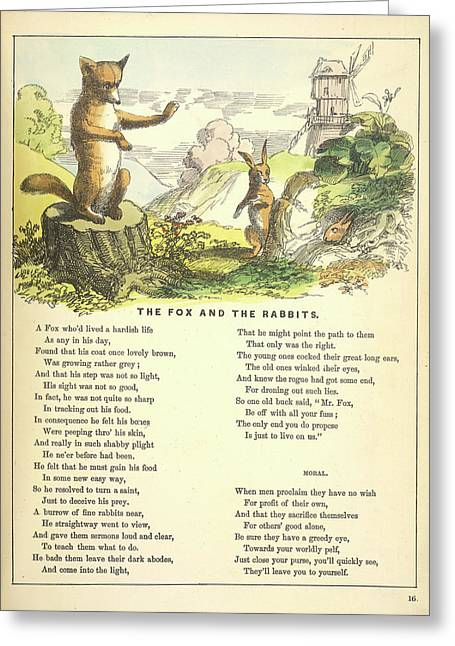 The Fox And The Rabbits Greeting Card by British Library