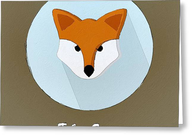 The Fox Cute Portrait Greeting Card by Florian Rodarte