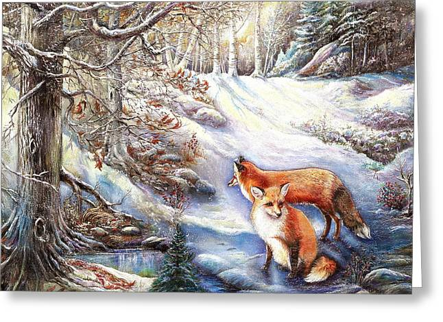 The Foxes Of Panel Mine Road Greeting Card