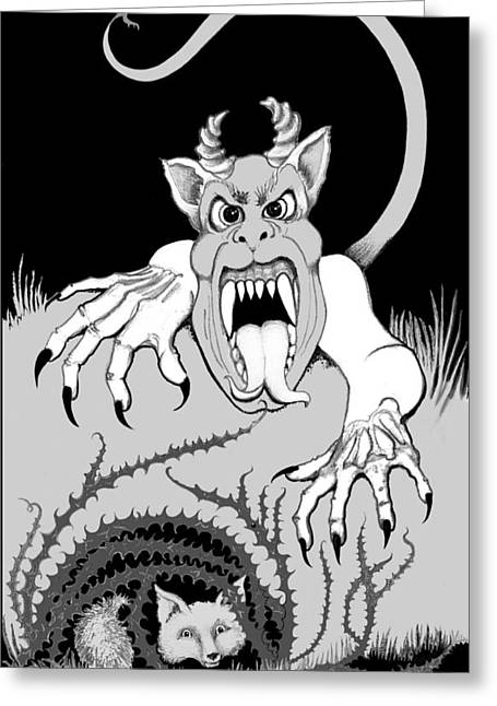 Greeting Card featuring the digital art The Fox's Fiend  by Carol Jacobs