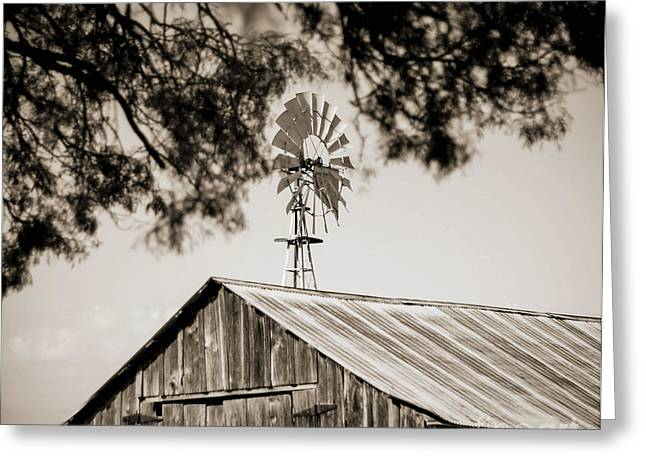Greeting Card featuring the photograph The Framed Windmill by Amber Kresge