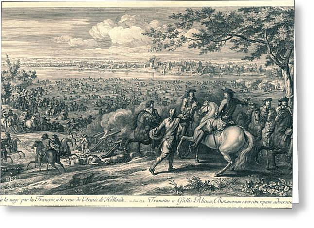 The French Armies Crossing The Rhine At Lobith Greeting Card by Charles Louis Simonneau And Adam Frans Van Der Meulen