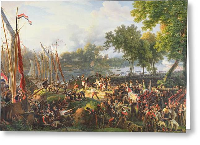 The French Army Crossing The Rhine At Dusseldorf Greeting Card by Louis Lejeune