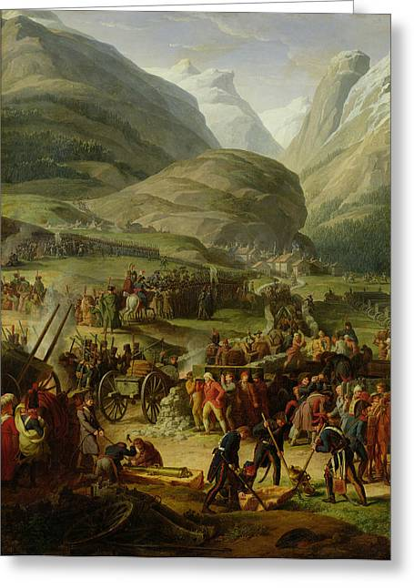 The French Army Travelling Over The St. Bernard Pass At Bourg St. Pierre, 20th May 1800, 1806 Oil Greeting Card
