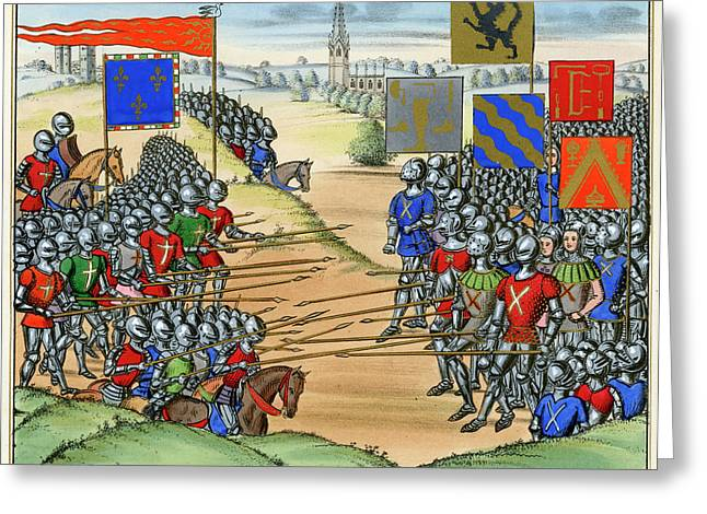 The French Defeat The Flemish Greeting Card by Mary Evans Picture Library