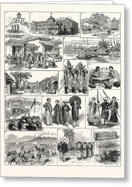 The French In Tonkin Vietnam 1. Magazine In The Citadel Greeting Card by English School