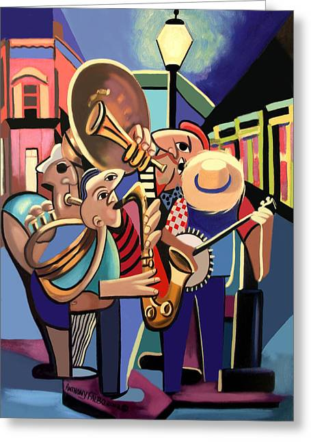 Greeting Card featuring the painting The French Quarter by Anthony Falbo