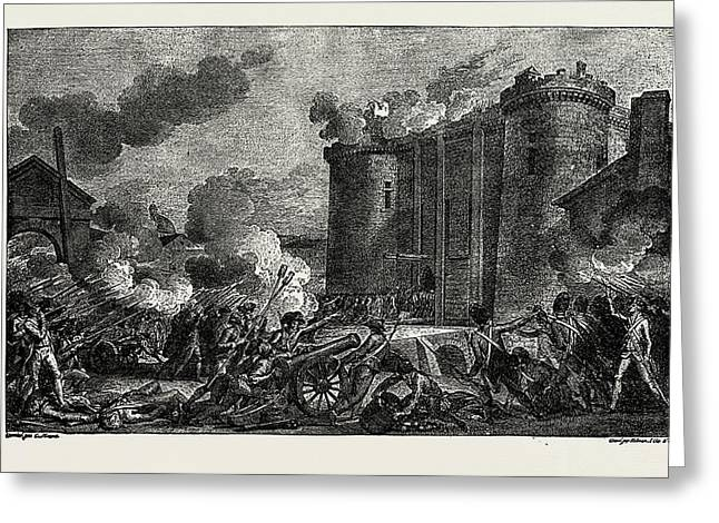 The French Revolution The Bastille Taken By The People Greeting Card by Litz Collection