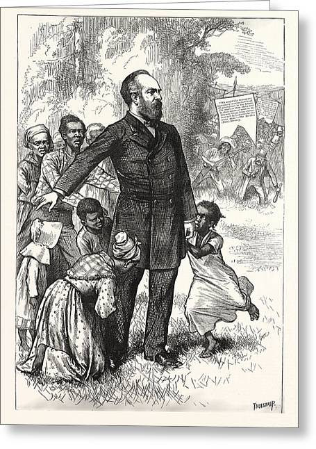 The Friend Of The Freedmen, General Garfield, Engraving Greeting Card by American School