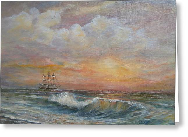 Greeting Card featuring the painting Sunlit  Frigate by Luczay