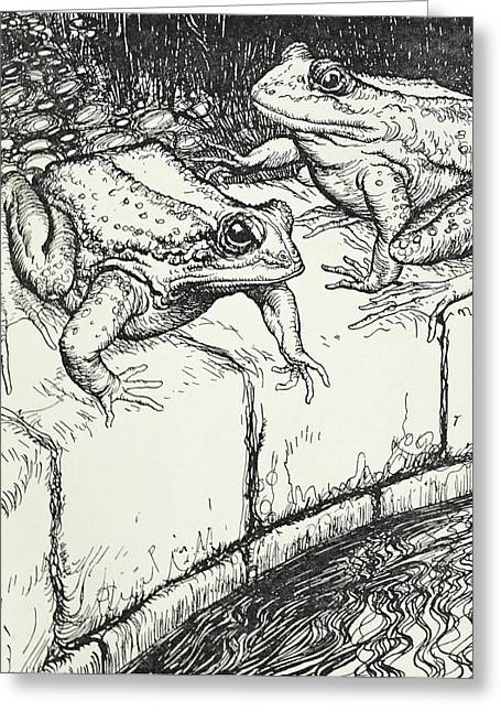 The Frogs And The Well Greeting Card by Arthur Rackham